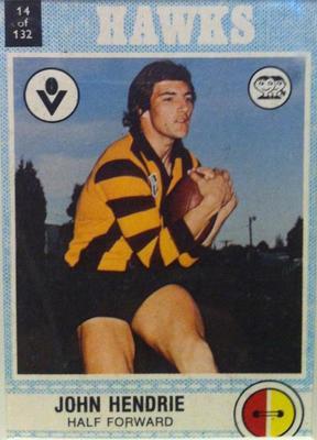 1977 Scanlens VFL Football John Hendrie trade card