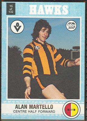 1977 Scanlens VFL Football Alan Martello trade card