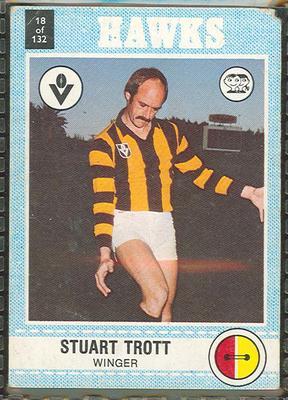 1977 Scanlens VFL Football Stuart Trott trade card