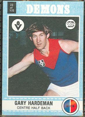 1977 Scanlens VFL Football Gary Hardeman trade card