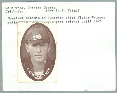 Trade card featuring Charles Macartney, Wills Cigarettes c1930s