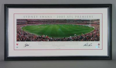 Panoramic image of the MCG celebrating 2005 AFL Premiers Sydney