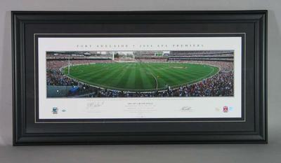 Panoramic image of the MCG celebrating 2004 AFL Premiers Port Adelaide; Artwork; Framed; M15559