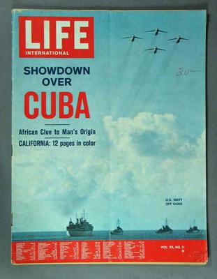 "Magazine - ""Life International"", Vol 33 No 11, 19 November 1962"