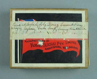 Box, contains glass plates and negatives