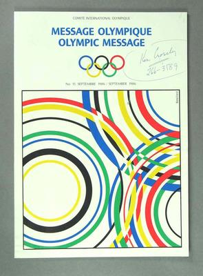 Magazine - 'Olympic Message',  No 15 September 1986