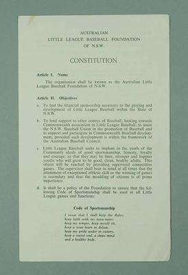 Leaflet - Constitution - Australian Little League Baseball Foundation of NSW; Documents and books; 1986.1280.17