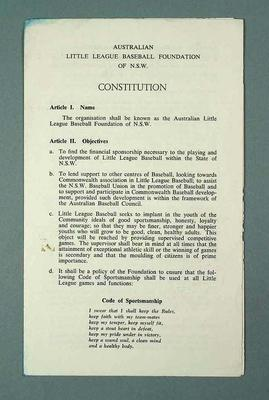 Leaflet - Constitution - Australian Little League Baseball Foundation of NSW; Documents and books; 1986.1280.16