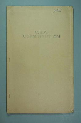 Victorian Basketball Association Constitution, staple-bound in a manila folder, marked J. Ellis; Documents and books; 1986.1280.15