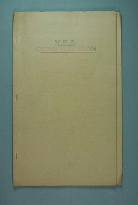 Victorian Basketball Association Constitution, staple-bound in a manila folder, title underlined in red; Documents and books; 1986.1280.14