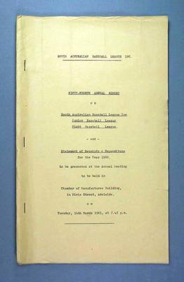 South Australian Baseball League, Fifty-Fourth Annual Report, 14 March 1961