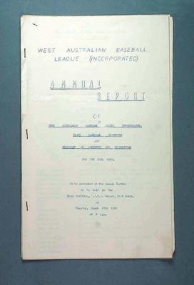 West Australian Baseball League Annual Report 28 March 1961