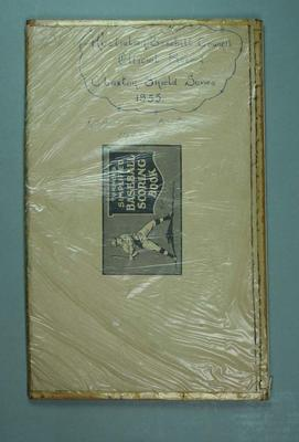 Scorebook - Australian Baseball Council Official Record - Claxton Shield Series 1955