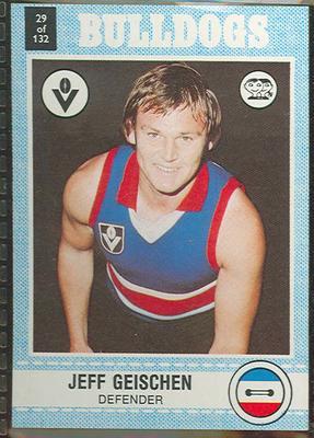 1977 Scanlens VFL Football Jeff Geischen trade card