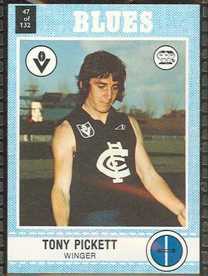 1977 Scanlens VFL Football Tony Pickett trade card