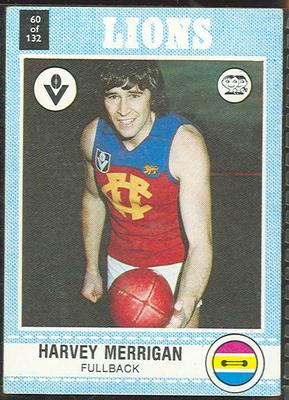 1977 Scanlens VFL Football Harvey Merrigan trade card