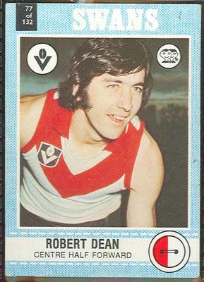 1977 Scanlens VFL Football Robert Dean trade card