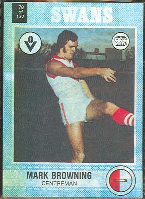 1977 Scanlens VFL Football Mark Browning trade card; Documents and books; 1994.3042.86