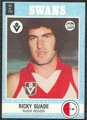1977 Scanlens VFL Football Ricky Quade trade card