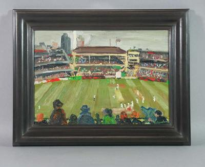 Oil on wood study:  'The Boxing Day Test, 2001' - artist Stephen Armstrong