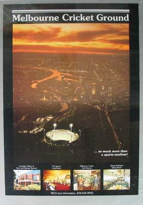 Colour poster with images of the Melbourne Cricket Ground