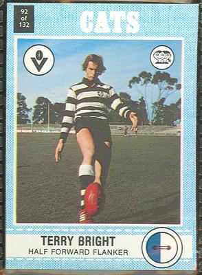 1977 Scanlens VFL Football Terry Bright trade card