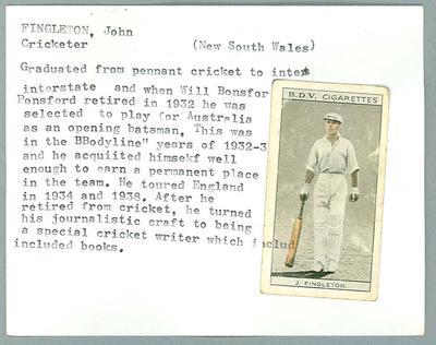 Trade card featuring John Fingleton, BDV Cigarettes c1930s