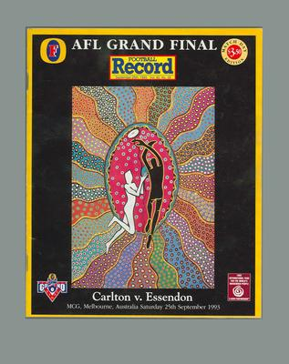 Booklet - 'Football Record'  Grand Final Vol. 82, No. 26. 25 September 1993