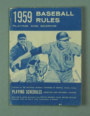 Blue booklet - 1959 Baseball Rules - American and National Leagues