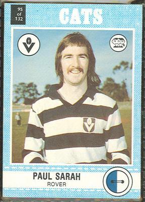 1977 Scanlens VFL Football Paul Sarah trade card