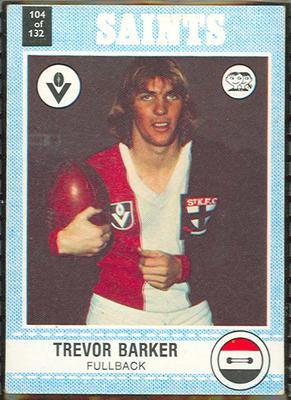1977 Scanlens VFL Football Trevor Barker trade card