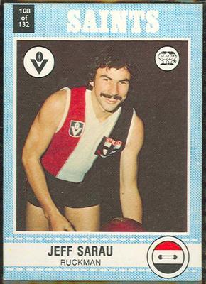 1977 Scanlens VFL Football Jeff Sarau trade card