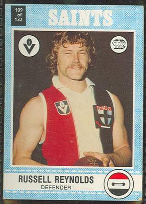 1977 Scanlens VFL Football Russell Reynolds trade card