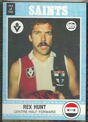1977 Scanlens VFL Football Rex Hunt trade card