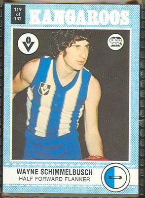 1977 Scanlens VFL Football Wayne Schimmelbusch trade card; Documents and books; 1994.3042.117
