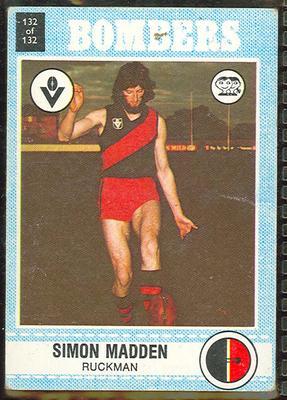 1977 Scanlens VFL Football Simon Madden trade card