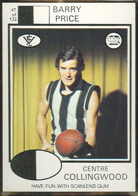 1975 Scanlens VFL Football Barry Price trade card