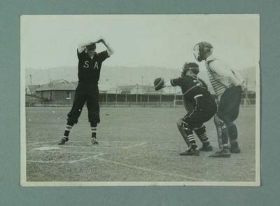 Black and white photograph  of a match between Victoria and South Australia, during the 1947 Claxton Shield national baseball championship.