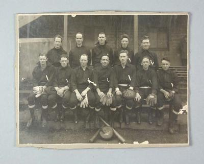 Black and white photograph, Victorian Baseball Team, c.1920s, captained by Ern Baster; Photography; 1986.1288.6