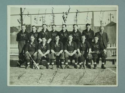 Black and white photograph, Victorian Baseball Team, c.1930's, hand signed by the players.; Photography; 1986.1288.8