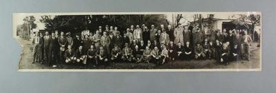 A panoramic photograph of players and officials of the Victorian and South Australian baseball teams, c.1948.