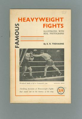 """Booklet, """"Famous Heavyweight Fights"""" by E R Treharne c1948"""