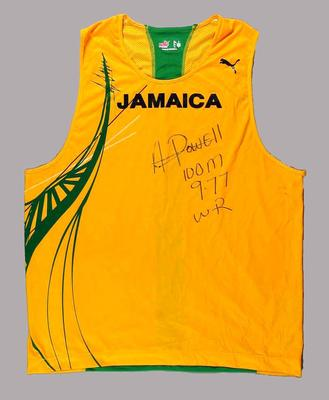 Singlet autographed by Jamaican athlete Asafa Powell, 2006 Commonwealth Games