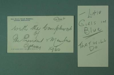 A N.S.W. Baseball Umpires' Association envelope and card, handwritten inscriptions,  dated 1960