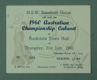 Invitation, N.S.W. Baseball Union 1960 Australian Championship Cabaret 21 July.