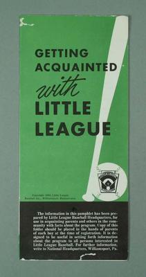 Leaflet 'Getting Acquainted with Little League', Little League Basketball