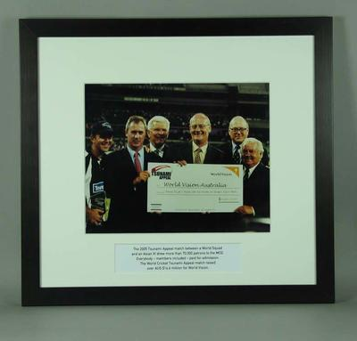 Framed colour photograph of Tsunami Appeal Cricket Match at the MCG, January 10 2005; Photography; Framed; M15600