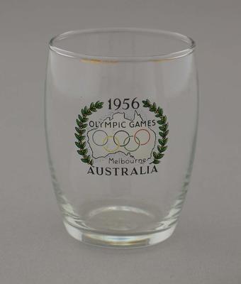 Souvenir diringing glass stamped  '1956 Olympic Games, Melbourne, Australia'