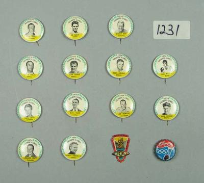 Fourteen badges and a bottle cap, 1956 Olympic Games; Civic mementoes; Domestic items; 2006.4814