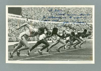 Photograph of athlete John Treloar with inscription to George Saunders c.1952